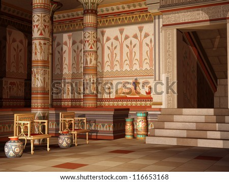 Colorful ancient Egyptian temple with chairs and vases