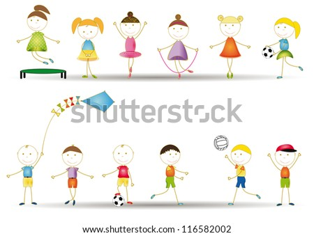 Colorful and cute kids playing in garden and home - stock photo