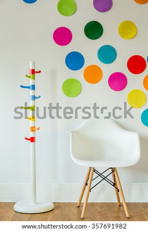 Colorful and modern accessories in little child's room  - stock photo