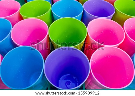 colorful and texture from the row of plastic cup - stock photo