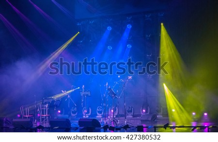 colorful and vivid stage spotlight on stage background - stock photo