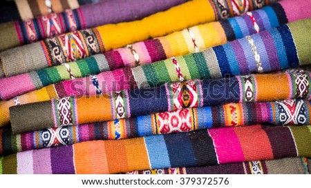 Colorful Andean woven textiles - stock photo