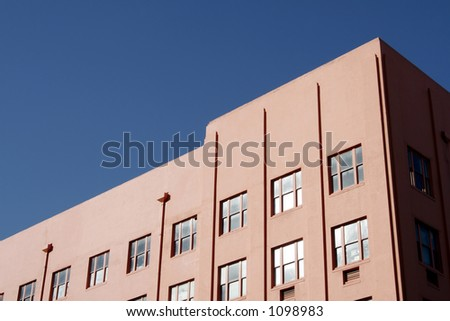Colorful Apartment Building, Clear Blue Sky, Lots of Space
