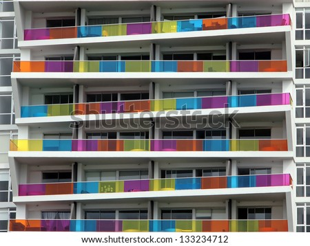 Colorful apartment building facade in Panama City, Panama - stock photo