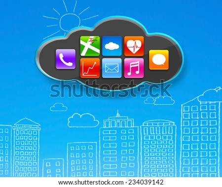 colorful app icons on black cloud with sky blue buildings doodles wall background - stock photo
