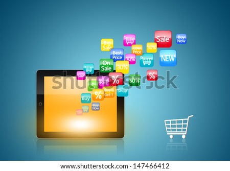 Colorful application icon concept and the shopping cart - stock photo