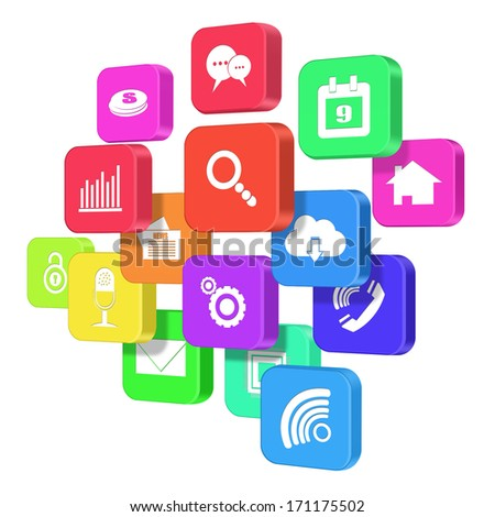 Colorful application icon  concept  isolated on white background - stock photo