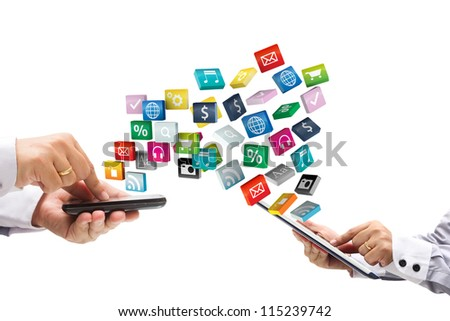 colorful application icons with Hand holding the phone and tablet pc, isolated on white background - stock photo
