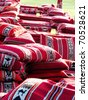 Colorful Arabic Cushions, pillows - stock photo