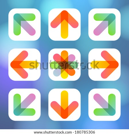 Colorful Arrow Icon Flat Menu. Raster illustration.