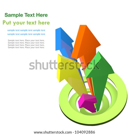 Colorful arrows rising from green spiral - stock photo
