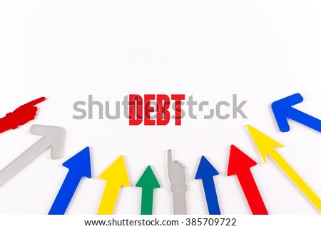 Colorful Arrows Showing to Center with a word DEBT