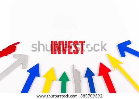 Colorful Arrows Showing to Center with a word INVEST