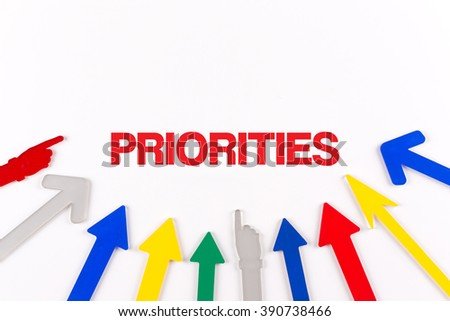 Colorful arrows showing to center with a word PRIORITIES - stock photo
