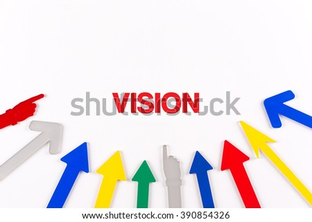 Colorful arrows showing to center with a word VISION
