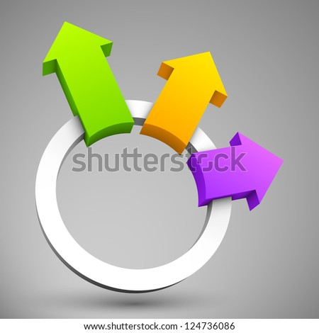 Colorful arrows with circle 3D.