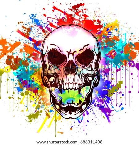 colorful art decor painting human skull stock illustration 686311408 shutterstock - Colorful Art