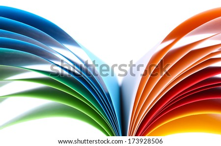 Colorful art paper isolated on white - stock photo