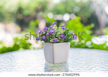 Colorful artificial flowers made from cloth - stock photo