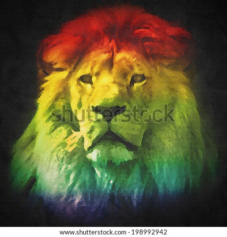 Colorful, artistic portrait of a lion with rich mane on black background. Abstract - stock photo