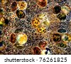 colorful artwork from little glass pieces mosaic with round forms - stock photo
