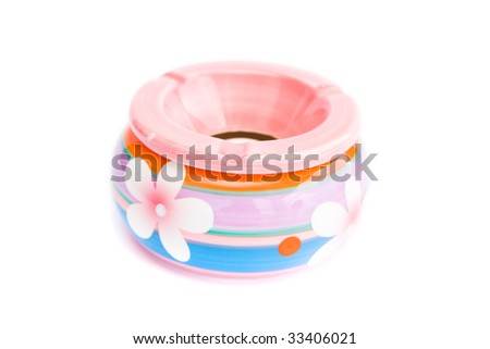colorful ashtray with flower isolated on white