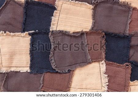 Colorful asian patchwork carpet, close up - stock photo