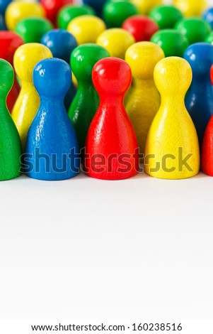 Colorful assortment of game figurines, with room in front