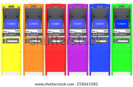 colorful atm cash machine - stock photo