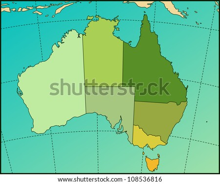 Colorful AUSTRALIA Map. Cartography collection. - stock photo
