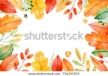 Colorful Autumn Frame Bright Fall Leaves Stock Illustration 736241815    Shutterstock