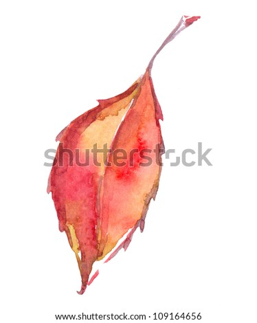 colorful autumn leaf isolated on white background. watercolor illustration - stock photo