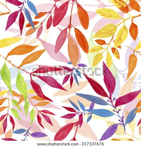 Colorful autumn leaves seamless pattern.  watercolor painting. - stock photo
