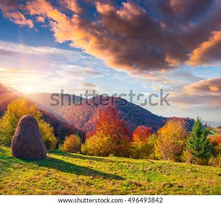Colorful autumn morning in Carpathians. Dramatic sunrise in the mountain village, Ukraine, Europe. Artistic style post processed photo.