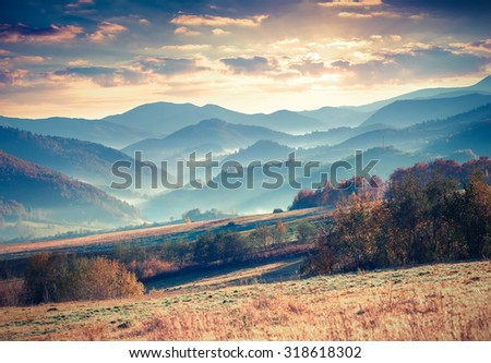 Colorful autumn morning in the Carpathian mountains. Vododilny ridge, Transcarpathian, Ukraine, Europe. - stock photo