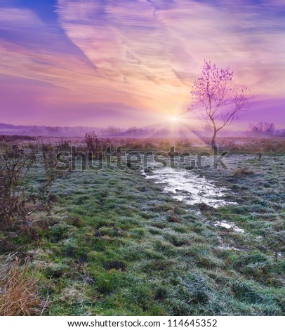Colorful autumn sunrise. First frost at November - stock photo