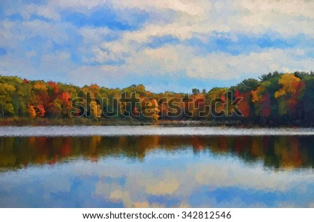 Colorful autumn woods along a lake in Pennsylvania transformed into a vibrant pointillism style painting