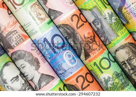 Colorful background and texture of Australian dollars - stock photo