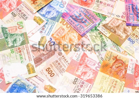 Colorful background and texture of Hong Kong dollar currency,money got profit from business