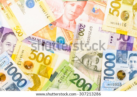 Colorful background and texture of Philippines currency banknotes - stock photo