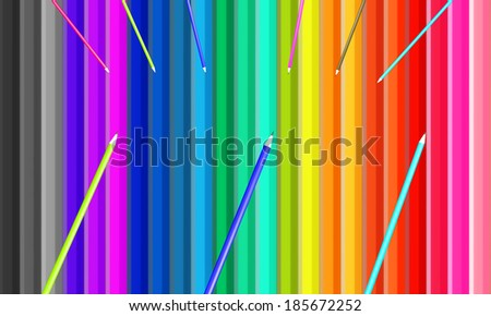 Colorful background from pencils put in a row - stock photo