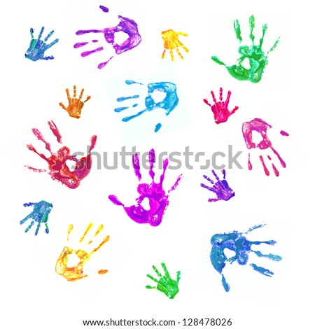Colorful background from prints of painted hands of the family, mom, dad and baby. Family, fun and creative concept. Isolated on white background - stock photo