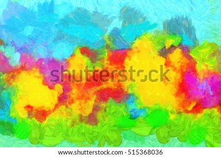 colorful background of the painting on canvas with mixed oil paints strokes texture of fine arts