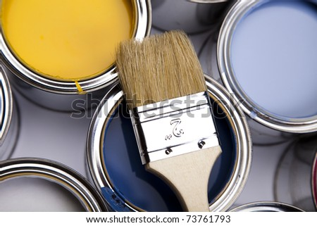Colorful background, Paint brush and paint - stock photo