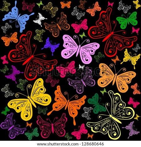Colorful background with butterfly. Seamless pattern. illustration.