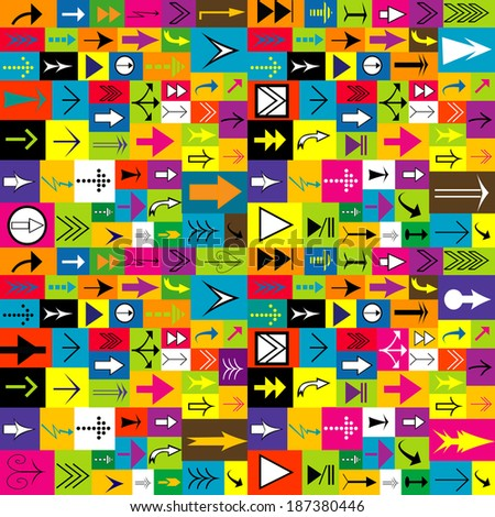 Colorful background with different kinds of arrows - stock photo