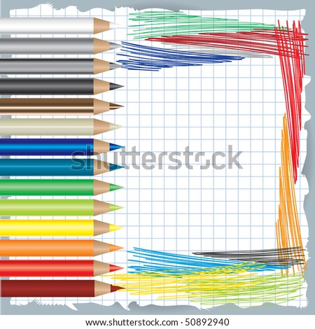 colorful background with drawing colorful background with drawing and color pencils