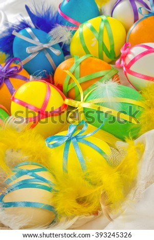 Colorful background with easter painted eggs - stock photo
