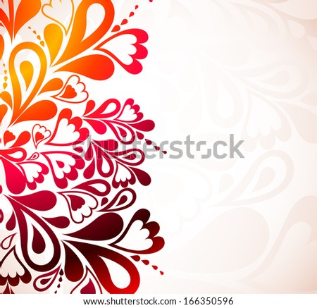 Colorful background with heart and swirl - stock photo