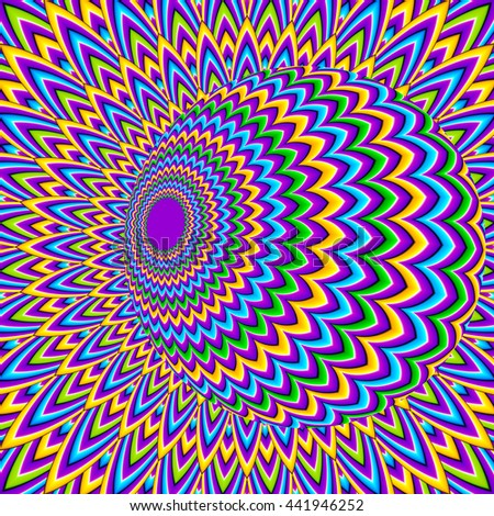 Colorful background with moving ball (optical illusion of movement)